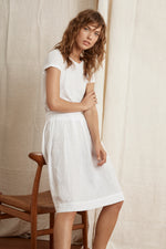 KRISTAL WOVEN LINEN PLEATED SKIRT