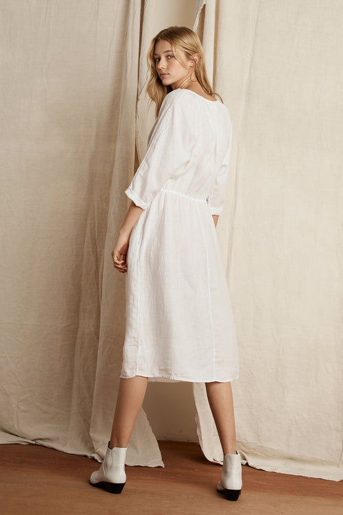 LARISSA WOVEN LINEN DRAWSTRING DRESS