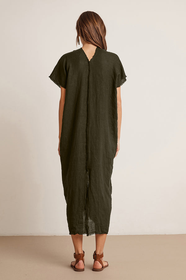 LONDON WOVEN LINEN CAFTAN DRESS