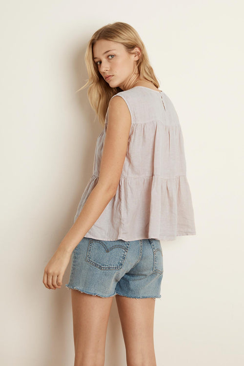 MANDI WOVEN LINEN TIERED SLEEVELESS TOP