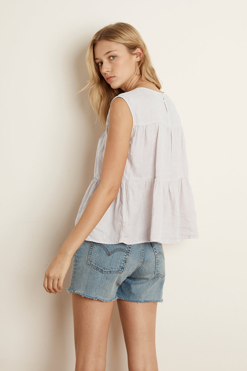 MANDI LINEN TIERED TOP