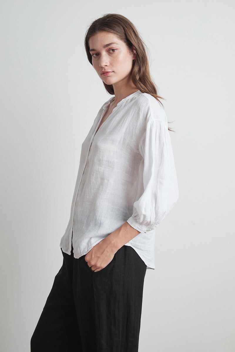 MATEA WOVEN LINEN BUTTON UP BLOUSE