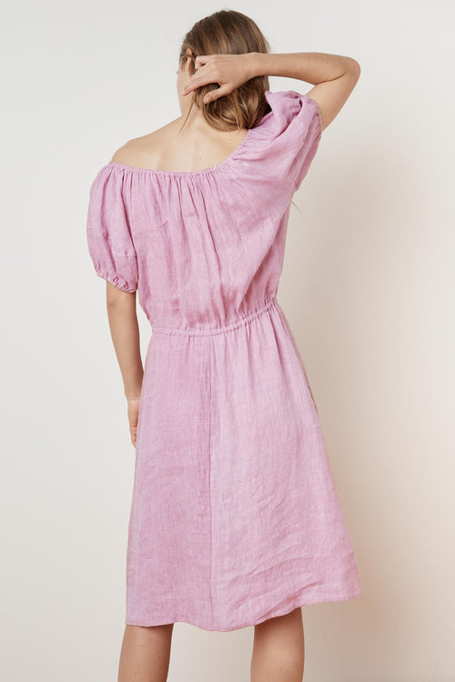 PAULINE WOVEN LINEN OFF THE SHOULDER TIE DRESS