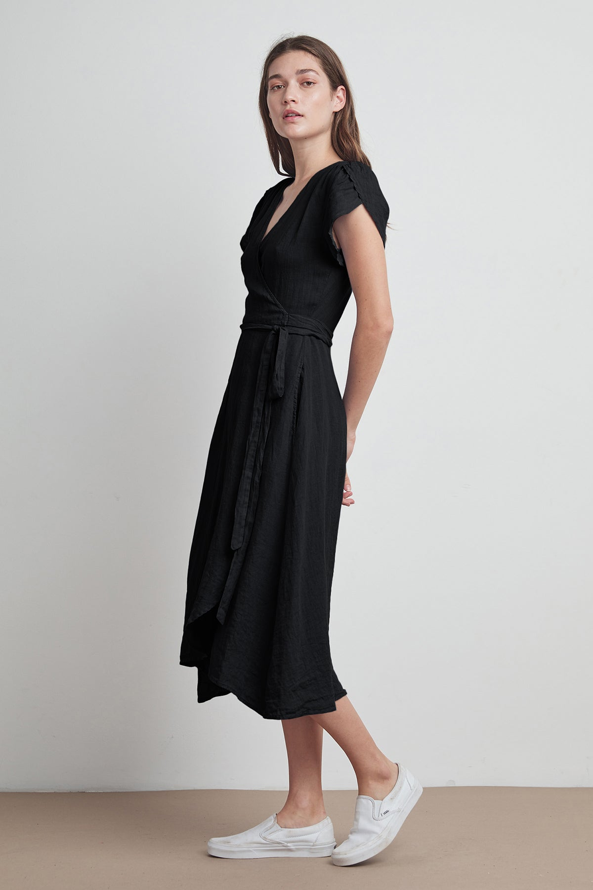 POSIE WOVEN LINEN WRAP DRESS