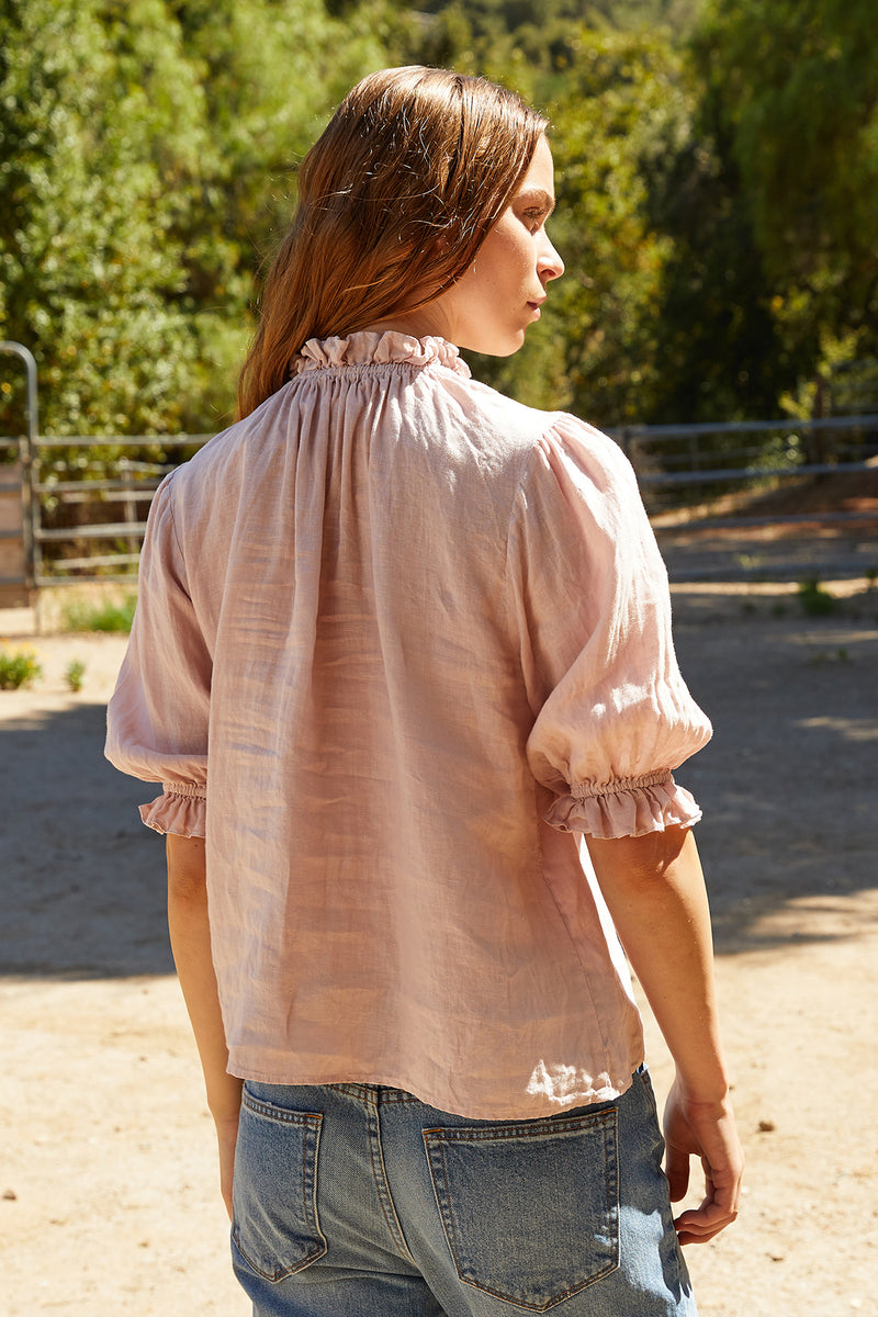 ROSABEL WOVEN LINEN PUFF SLEEVE TOP