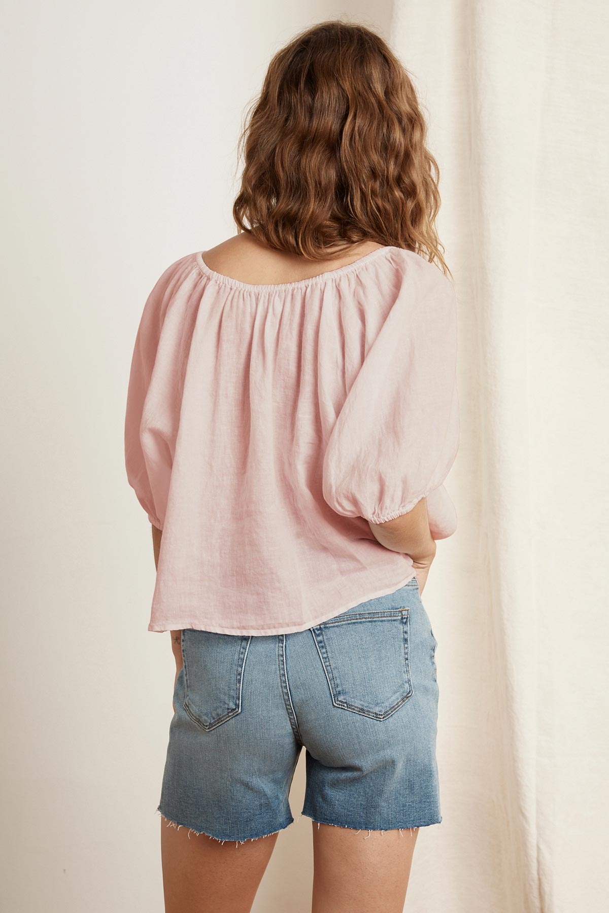SHARLINE WOVEN LINEN OFF THE SHOULDER TOP