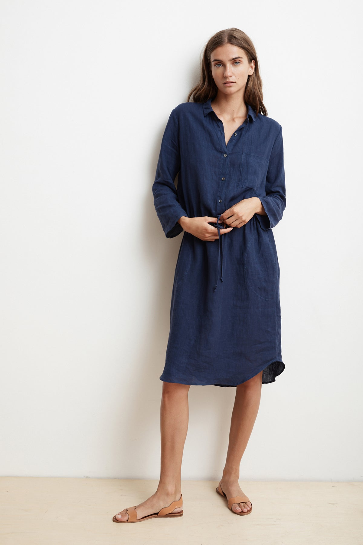 Tristana Woven Linen Shirt Dress Velvet By Graham Spencer
