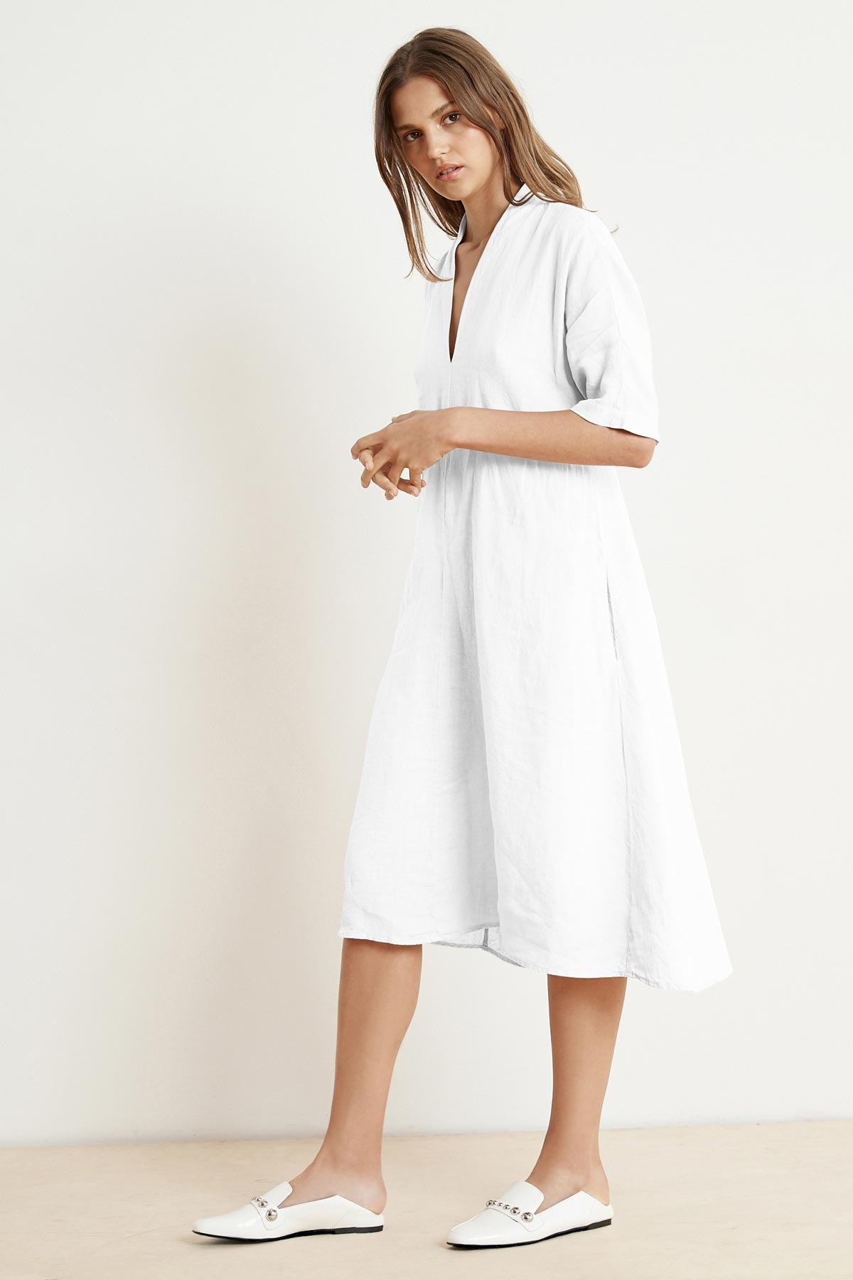 WINLEY WOVEN LINEN SHORT SLEEVE BELTED DRESS