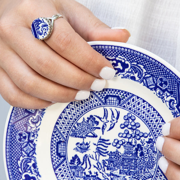 Blue Willow Ware Broken China Jewelry Ring Sterling Silver Ring Adjustable Gift for Mother