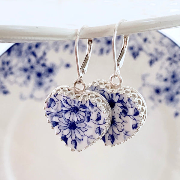 20th Anniversary Gift for Wife Blue and White Broken China Jewelry Heart Earrings