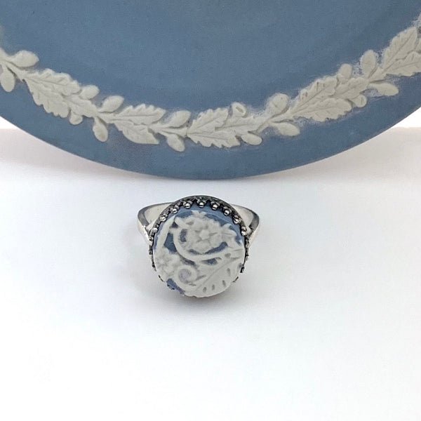 Boho Jewelry Blue Wedgwood Jasperware Broken China Ring Adjustable Sterling Silver Ring Gift for Girlfriend