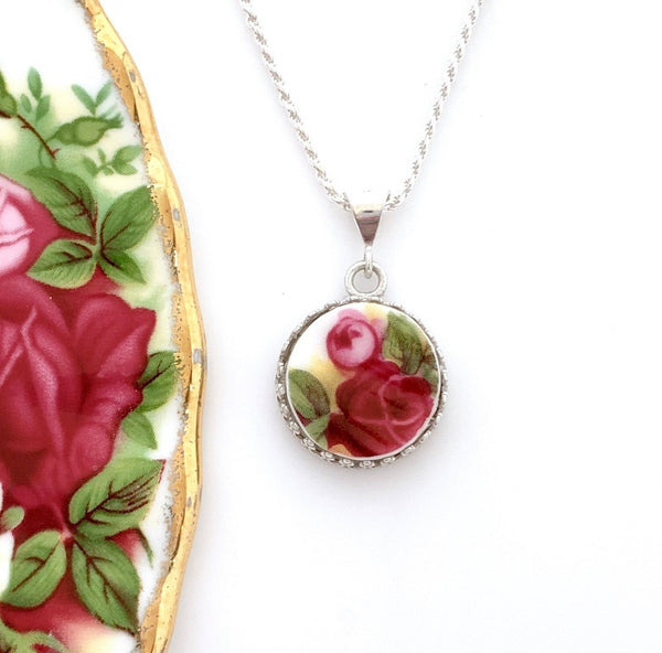 Rose Necklace, Royal Albert Broken China Jewelry, Repurposed and Handmade Jewelry, Anniversary Gift for Wife