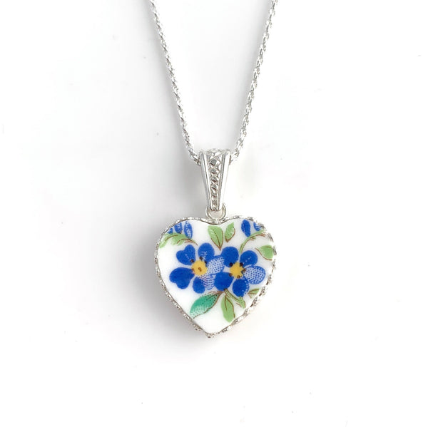 Heart Necklace, Forget Me Not Flower Jewelry, Graduation Gift for Daughter, Broken China Jewelry, Anniversary Gift for Wife