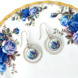 Blue Rose Broken China Jewelry Earrings, 2nd Anniversary Gift for Wife, Royal Albert Moonlight Rose, Unique Gifts for Women