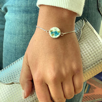 Dainty Adjustable Bolo Bracelet Broken China Jewelry Unique Gifts for Women Forget Me Nots
