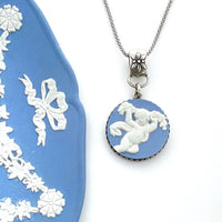 Wedgwood Angel Necklace, Broken China Jewelry, Victorian Jewelry, Unique Mothers Day Gifts for Women, Wedgwood Jasperware China Necklace