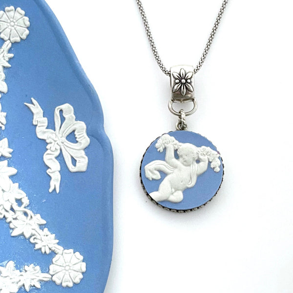 Wedgwood Angel Necklace, Broken China Jewelry, Victorian Jewelry, Unique Christmas Gifts for Women, Wedgwood Jasperware