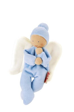 Kathe Kruse Nickibaby Angel Grabbing Toy Baby Doll, Blue