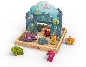 BeginAgain Colors We Sea Story Box Playset -  Educational Toy For Toddlers and Up - Play, Learn and Develop Fine Motor Skills With Sea Animal Figures and Pop-Up 3D Cave!