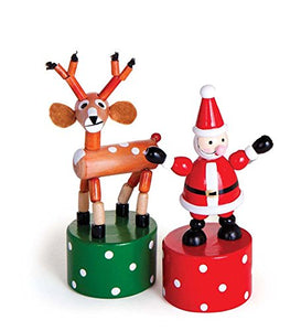 Wooden Holiday Push Puppets, Set of 2