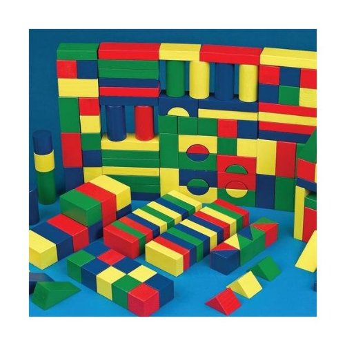 Colored Wooden Block Set (set of 65) by S&S