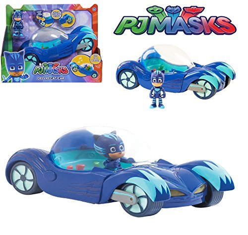 NEW! PJ Masks - DELUXE CAT-CAR VEHICLE - Cat-Car Pouncing Action, Headlights Light Up, Fun Sounds and Phrases from the Show
