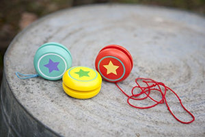 Jack Rabbit Creations Yellow Wooden Star Yo-yo - Single Red Yo-Yo
