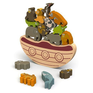 "BeginAgain Balance Boat: Endangered Animals Game and Playset - ""Award-Winning Stacking Toys Game"" - Balance Game with Wooden Toy Animals"