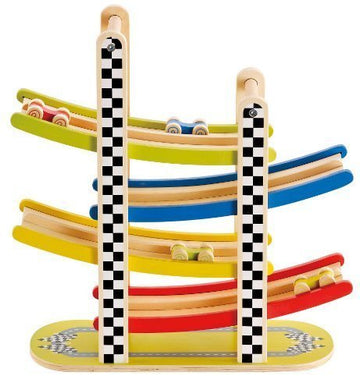 Two-Lane Racetrack With Stimulating Graphics - Hape Switchback Racetrack