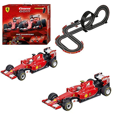 Carrera GO!!! Ferrari Red Champions Slot Car Race Track - 1:43 Scale Analog System - Includes 2 Formula 1 Cars with and 2 Controllers - Electric-Powered Set for Ages 8 and Up