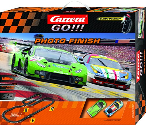 Carrera GO!!! Photo Finish Slot Car Race Track - 1:43 Scale Analog System - Includes 2 Cars: Lamborghini and Ferrari and 2 Controllers - Electric-Powered Set for Ages 8 and Up
