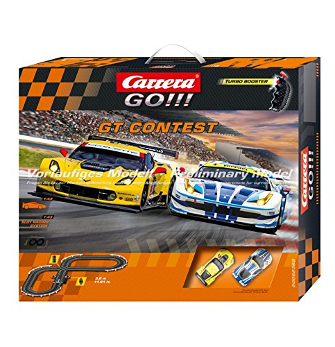 Carrera GO!!! GT Contest  - Slot Car Race Track Set - 1:43 Scale - Analog System - Includes 2 Racing Cars: Ferrari and Chevrolet Corvette - Two Dual-Speed Controllers with Turbo - For Ages 8 and Up