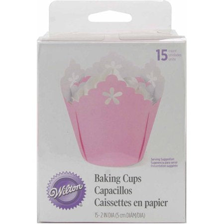 CUPCAKE PAPERS - SPECIALTY - FLOWER EYELET - PINK