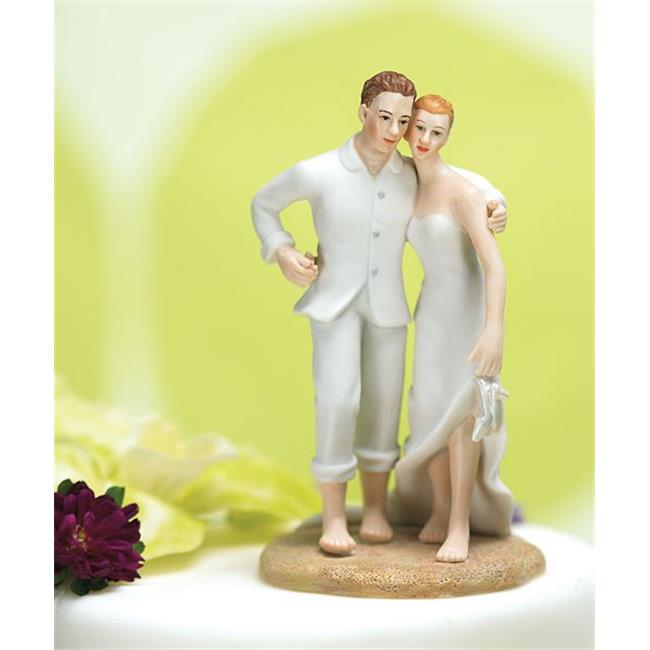 WEDDING TOPPERS - BRIDE AND GROOM EMBRACE ON THE BEACH TOPPER