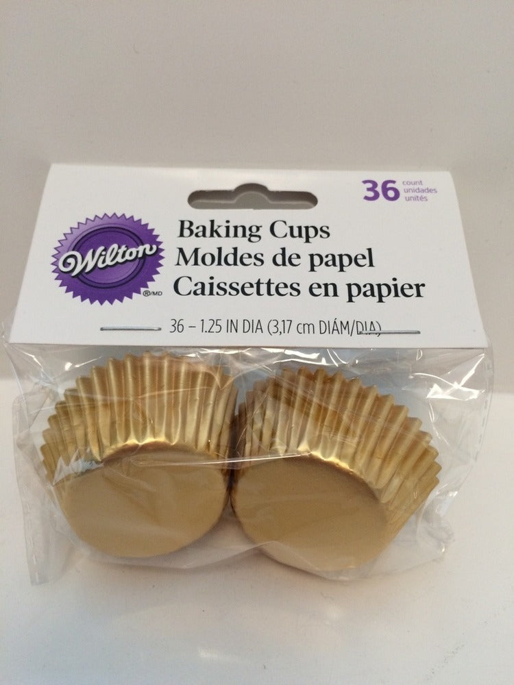 CUPCAKE PAPERS - FOIL -  MINI - GOLD