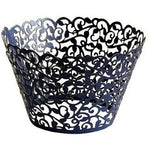 CUPCAKE WRAPPERS - FILIGREE BLACK