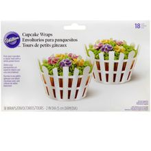 CUPCAKE WRAPPERS - WHITE PICKET FENCES - 12 PKG