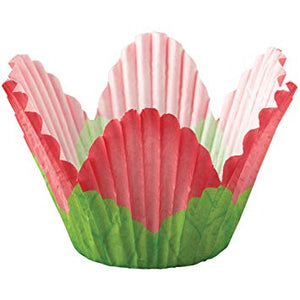 CUPCAKE PAPERS - SPECIALTY - PETAL CUPS - RED