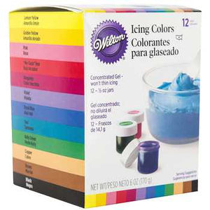 WILTON GEL ICING COLOUR - 12 COLOUR SET