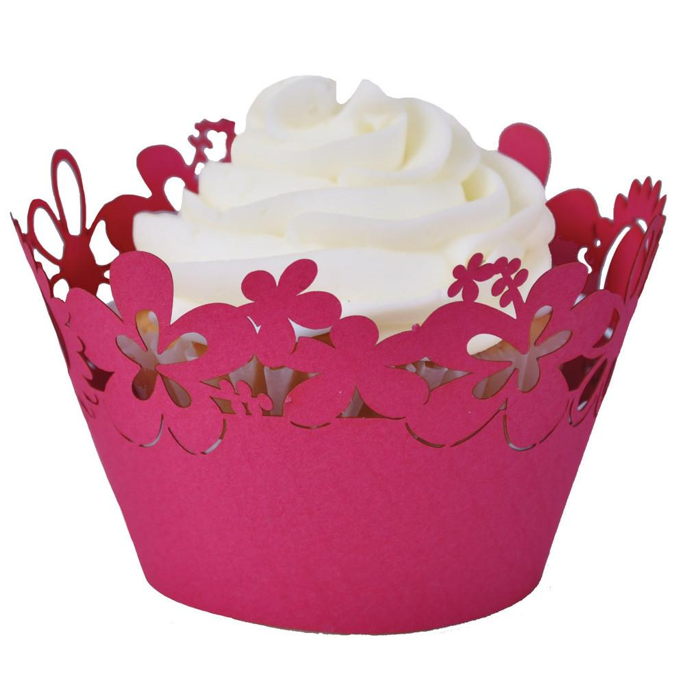 CUPCAKE WRAPPERS - HAPPY FLOWERS -  RED