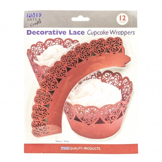 CUPCAKE WRAPPERS - RED LACE HEART