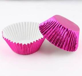 CUPCAKE PAPERS - FOIL - STANDARD - PINK