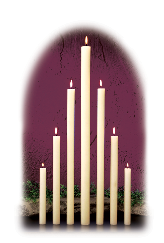 7/8 INCH  ALTAR CANDLES - STEARINE WAX