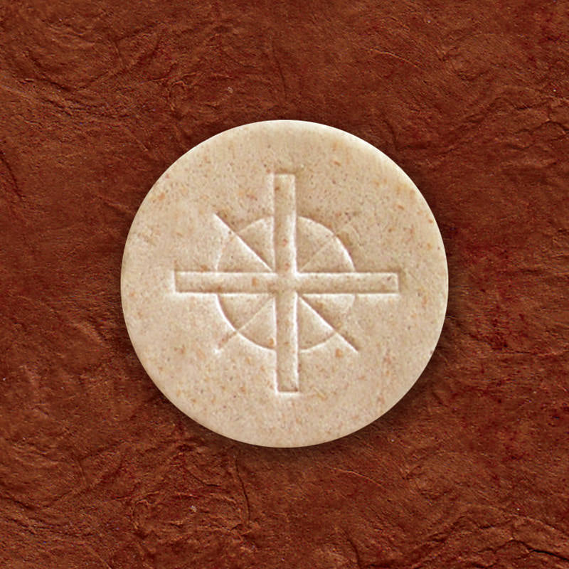 "ALTAR BREAD - COMMUNION HOST - 1-1/2 ""  WHOLE WHEAT CROSS DESIGN - PLASTIC CONTAINERS OF 500"