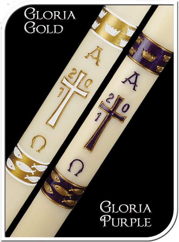 GLORIA GOLD PASCHAL CANDLE / COMPLEMENTING ALTAR CANDLES
