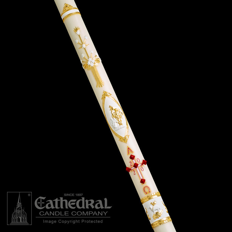 ORNAMENTED PASCHAL CANDLE / COMPLEMENTING ALTAR CANDLES