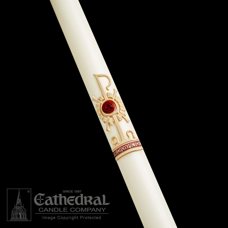 HOLY TRINITY PASCHAL CANDLE / COMPLEMENTING ALTAR CANDLES
