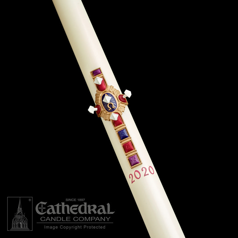 CHRIST VICTORIOUS PASCHAL CANDLE / COMPLEMENTING ALTAR CANDLES