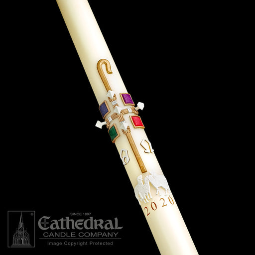 GOOD SHEPHERD PASCHAL CANDLE / COMPLEMENTING ALTAR CANDLES