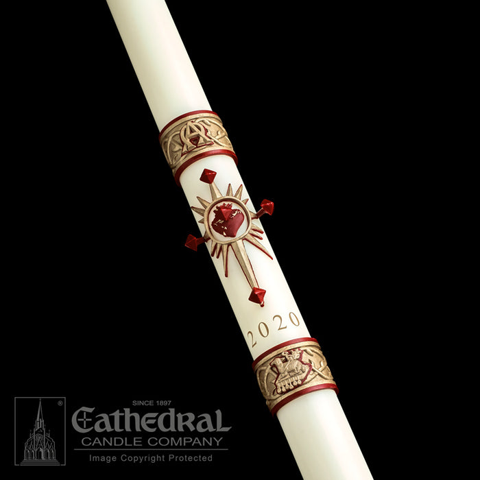 SACRED HEART PASCHAL CANDLE / COMPLEMENTING ALTAR CANDLES